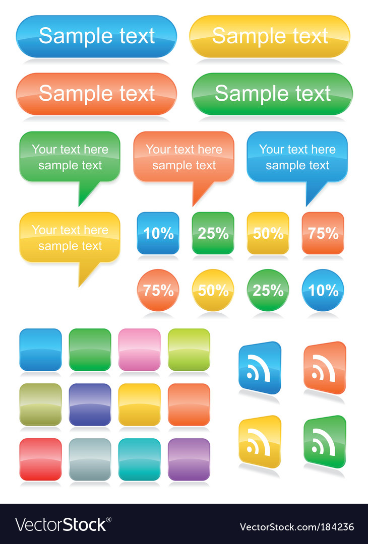 Web buttons set vector | Price: 1 Credit (USD $1)