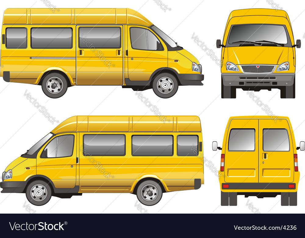 Yellow mini bus vector | Price: 3 Credit (USD $3)