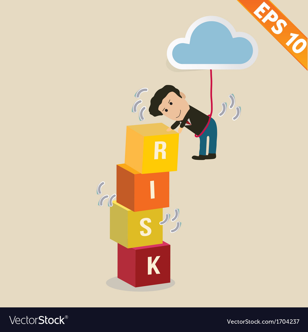 Cartoon businessman with risk management concept - vector | Price: 1 Credit (USD $1)