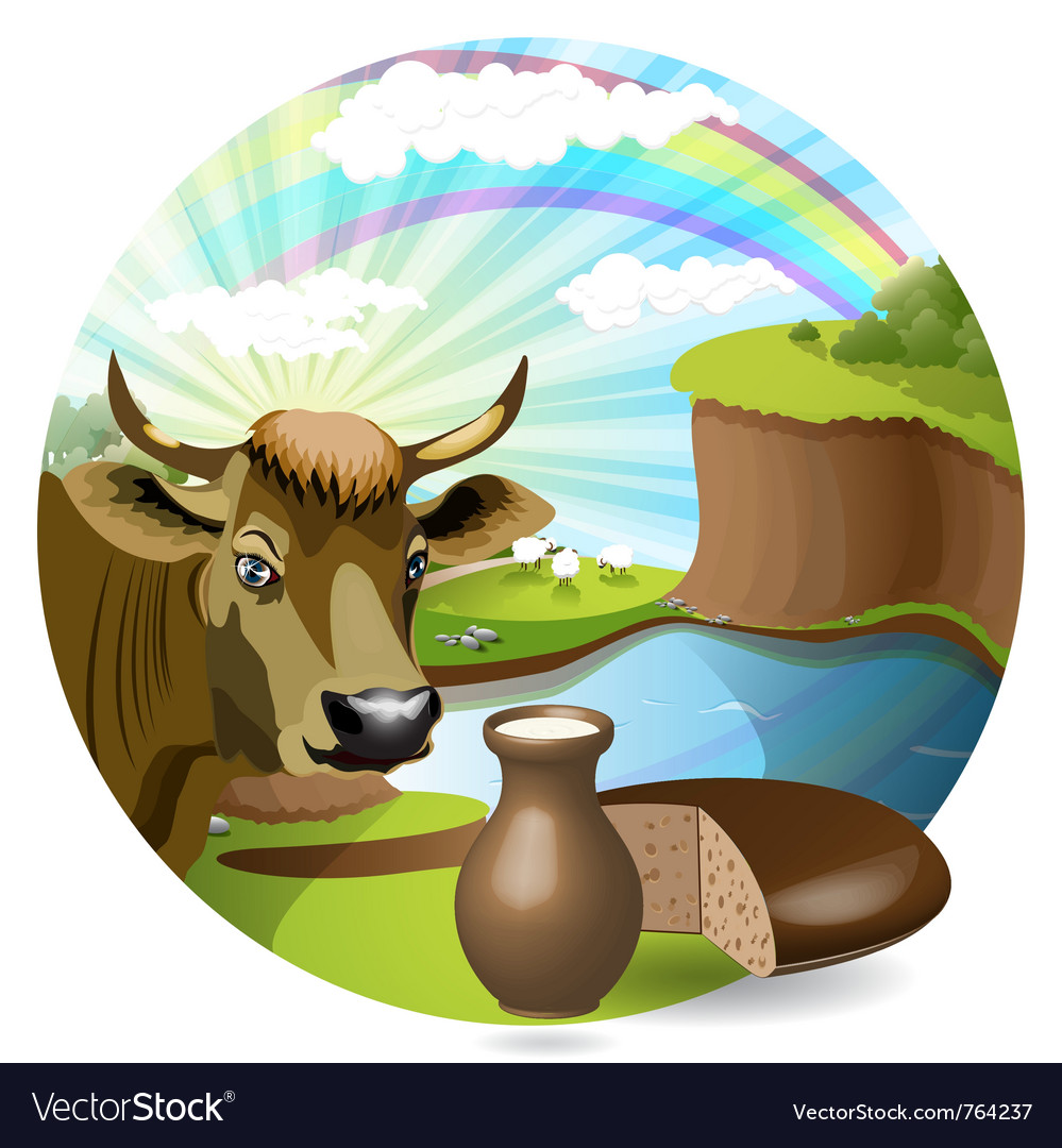 Cow with milk and bread vector | Price: 3 Credit (USD $3)