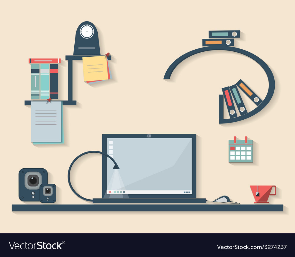 Flat design of business office vector | Price: 1 Credit (USD $1)