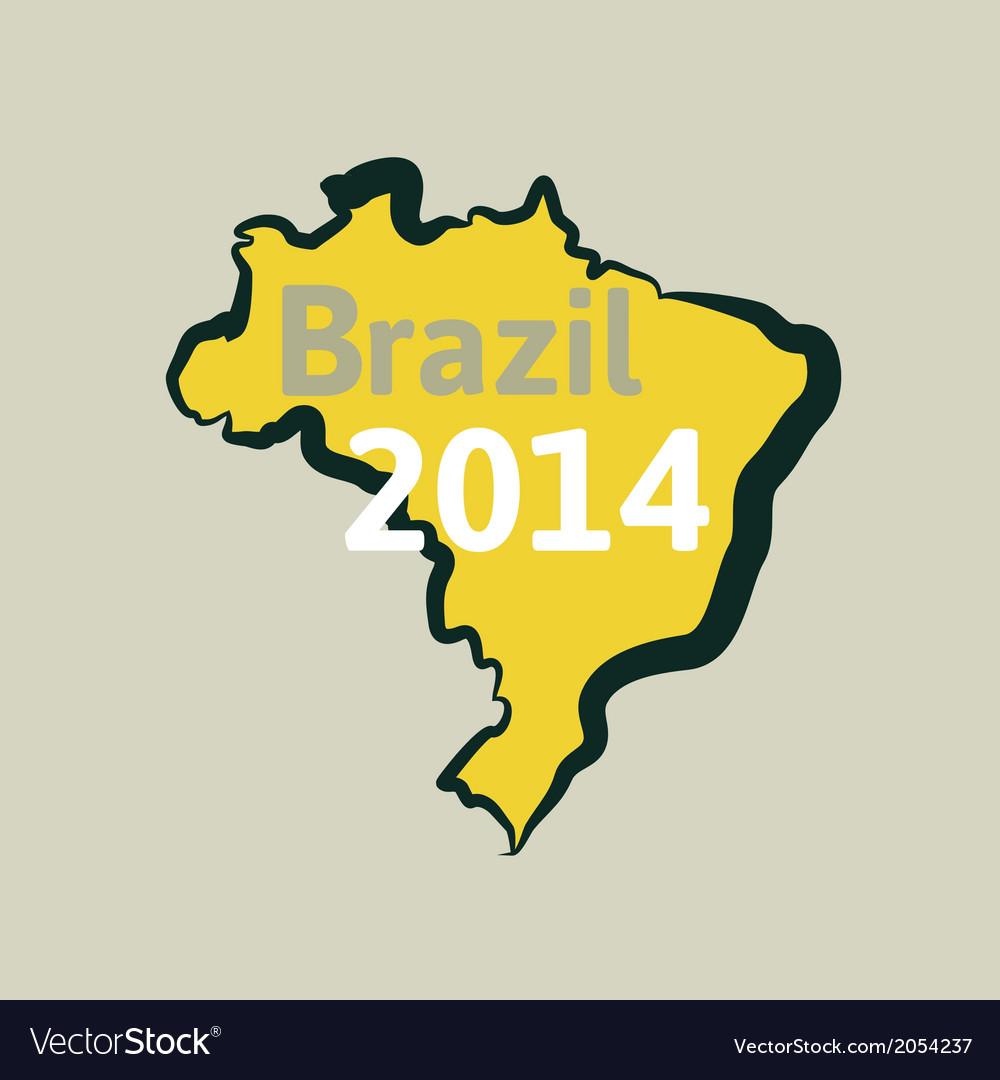 Flat simple brazil map vector | Price: 1 Credit (USD $1)