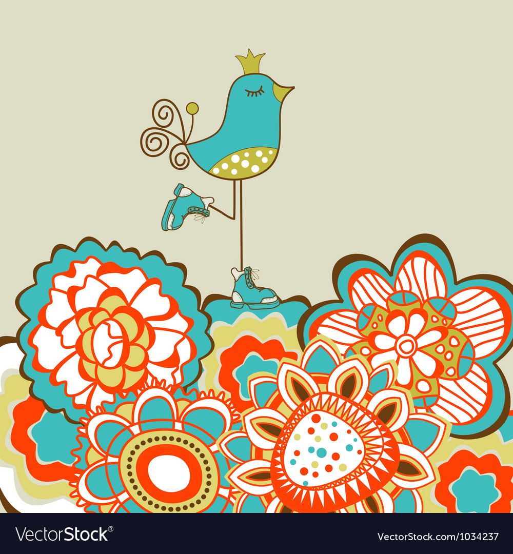 Floral garden and cute bird vector | Price: 1 Credit (USD $1)
