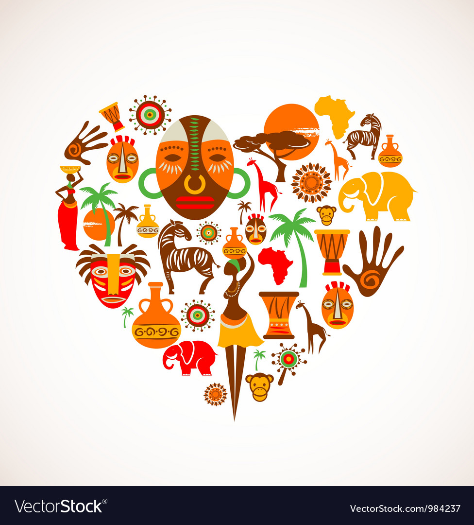 Heart with africa icons vector | Price: 3 Credit (USD $3)