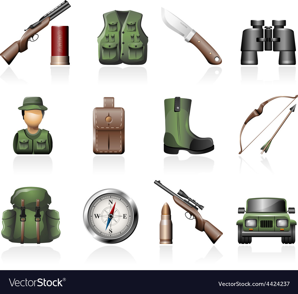 Hunting icons vector | Price: 3 Credit (USD $3)