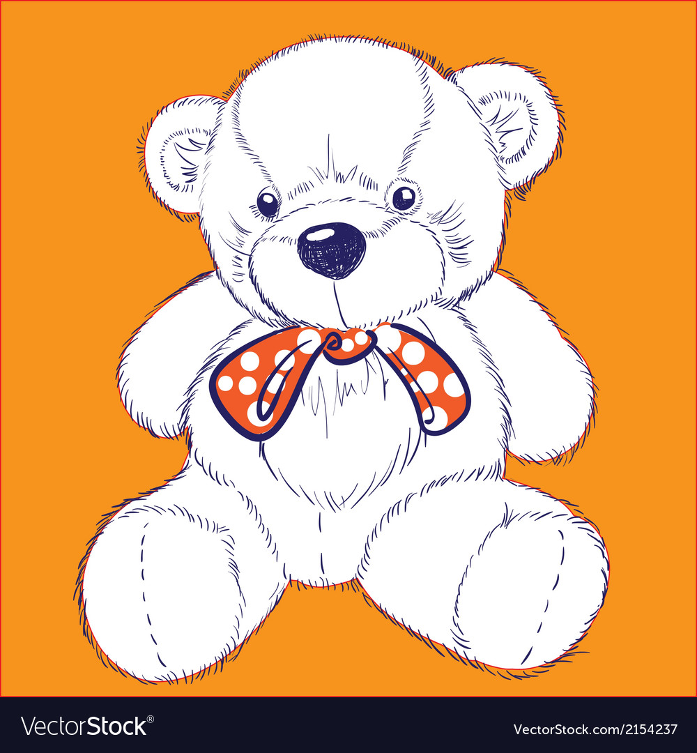 Retro bear on orange background with bow vector | Price: 1 Credit (USD $1)