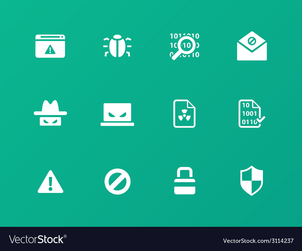 Security icons on green background vector | Price: 1 Credit (USD $1)