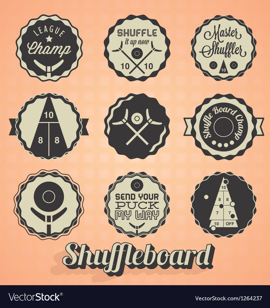 Shuffleboard labels vector | Price: 1 Credit (USD $1)