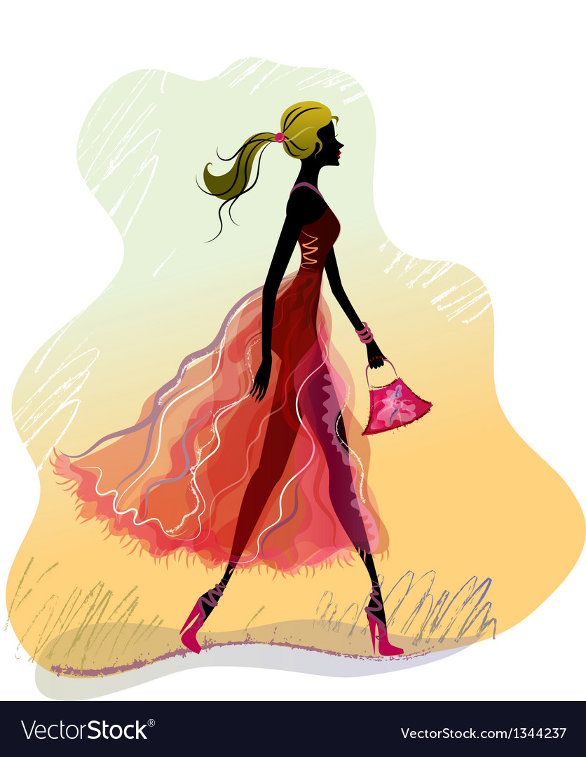 Walking lady vector | Price: 1 Credit (USD $1)