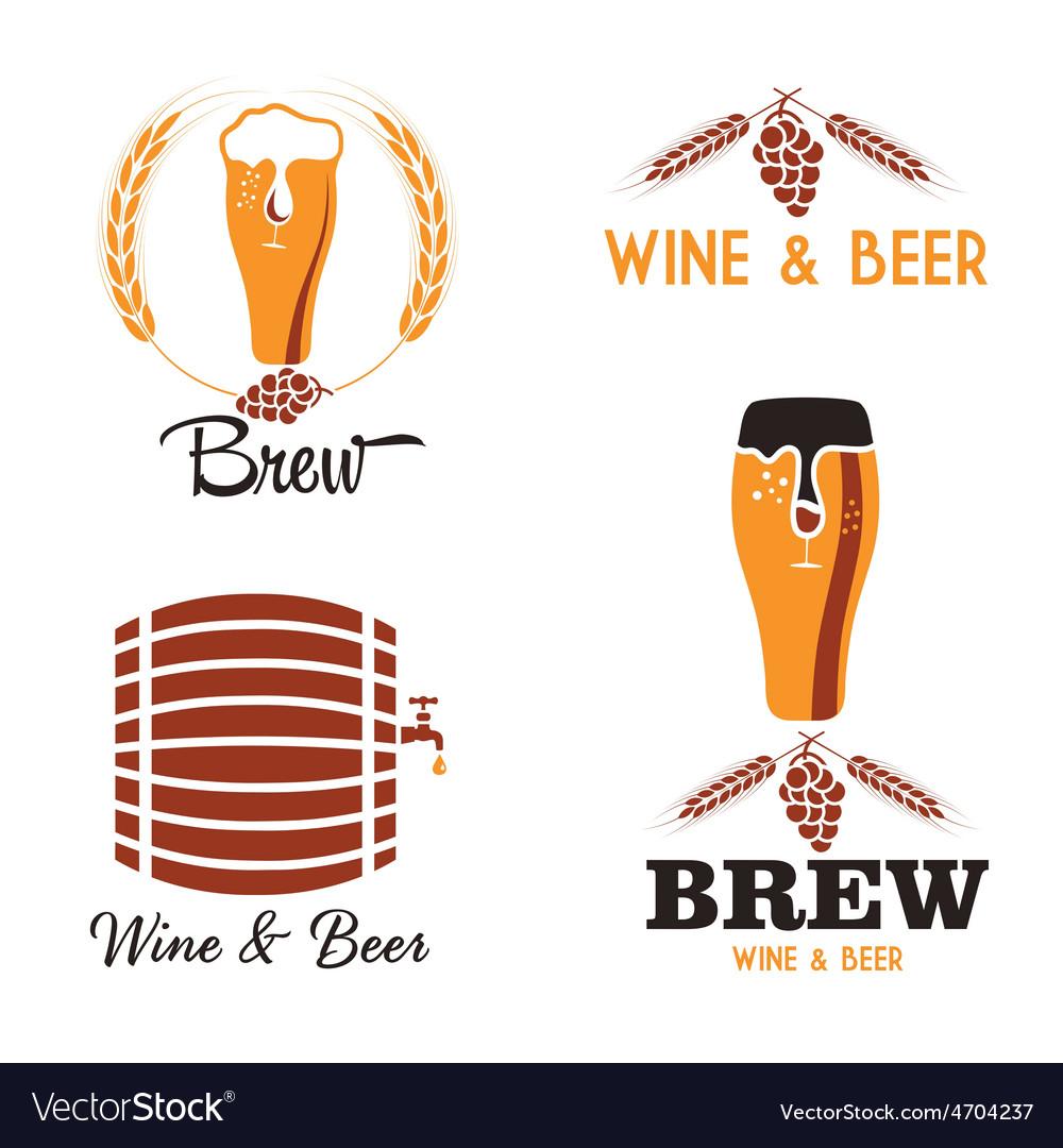 Wine and beer vintage labels set vector | Price: 1 Credit (USD $1)