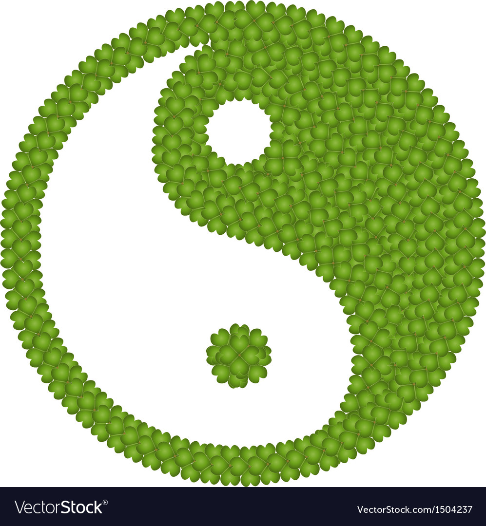 The ying yang sign made of four leaf clover vector | Price: 1 Credit (USD $1)