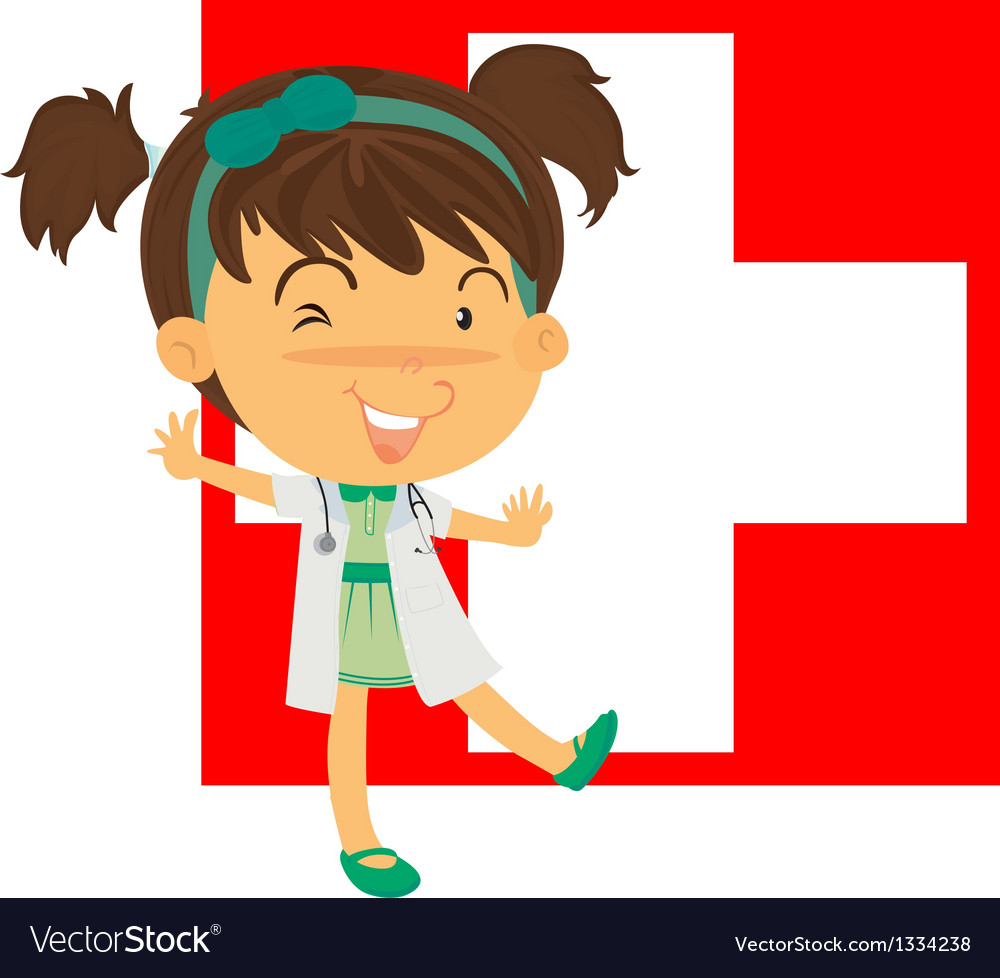 A nurse in front of the switzerland flag vector | Price: 1 Credit (USD $1)