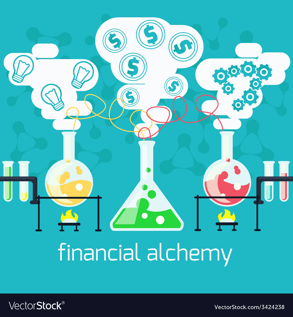 Alchemy generating money ideas in laboratory vector | Price: 1 Credit (USD $1)