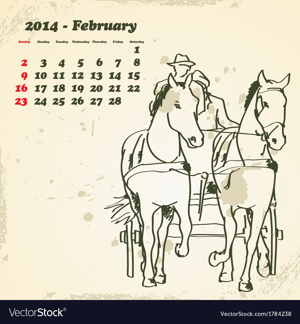 February 2014 hand drawn horse calendar vector   Price: 1 Credit (USD $1)