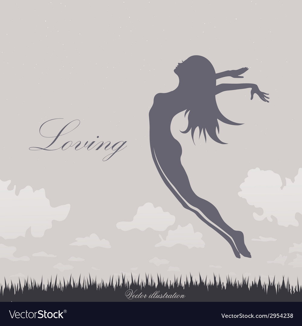 Girl jumping in the sky vector | Price: 1 Credit (USD $1)
