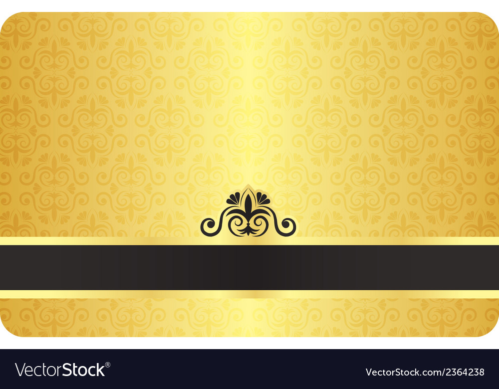 Gold card with vintage pattern vector | Price: 1 Credit (USD $1)