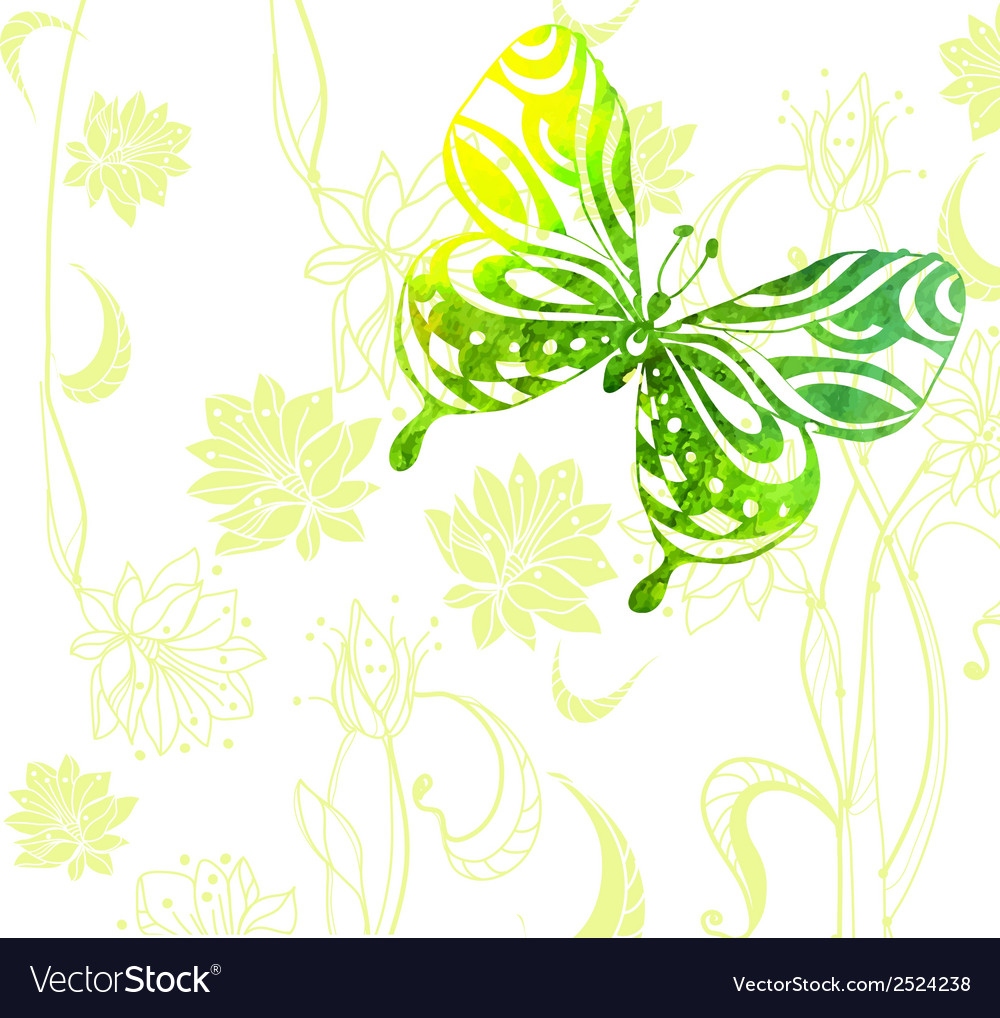 Green color background with watercolor butterflies vector | Price: 1 Credit (USD $1)