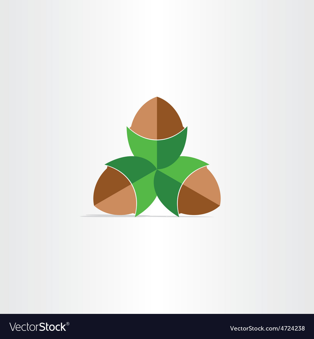 Hazelnuts flat icon design vector | Price: 1 Credit (USD $1)