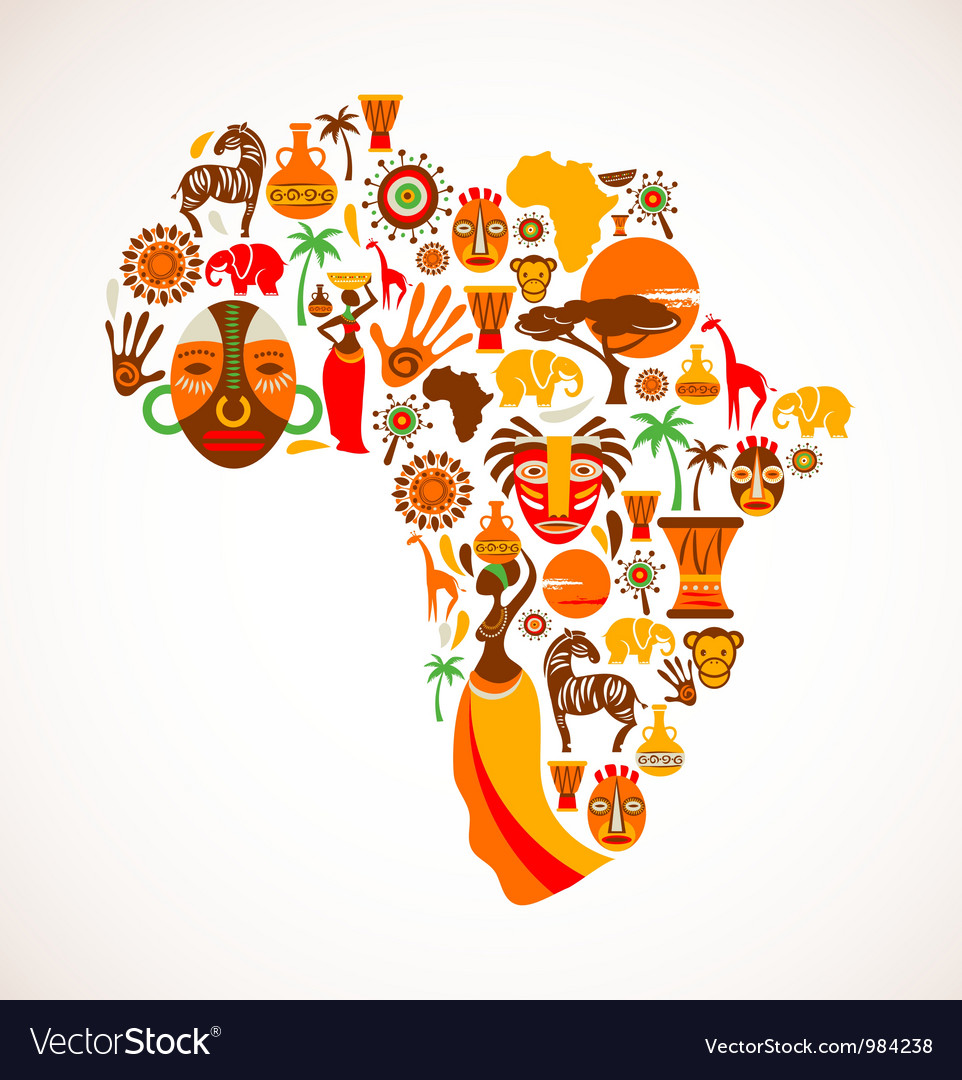 Map of africa with icons vector | Price: 3 Credit (USD $3)