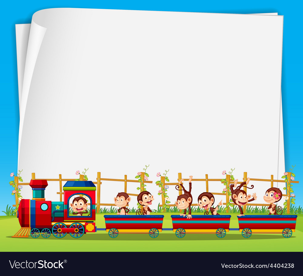 Monkey and train vector | Price: 3 Credit (USD $3)