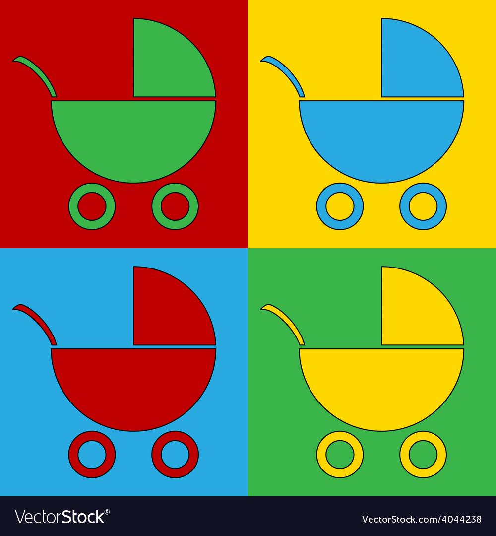 Pop art pram icons vector | Price: 1 Credit (USD $1)