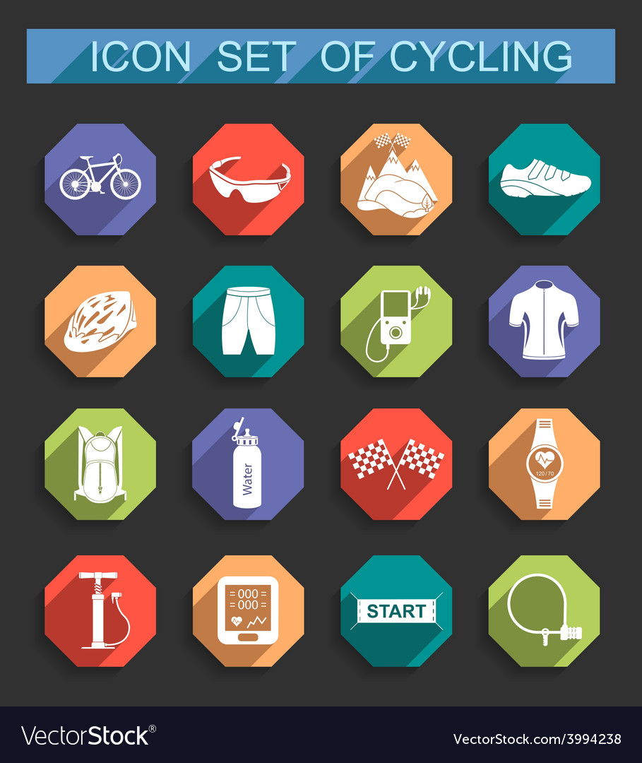 Set of icons on cycling vector   Price: 1 Credit (USD $1)