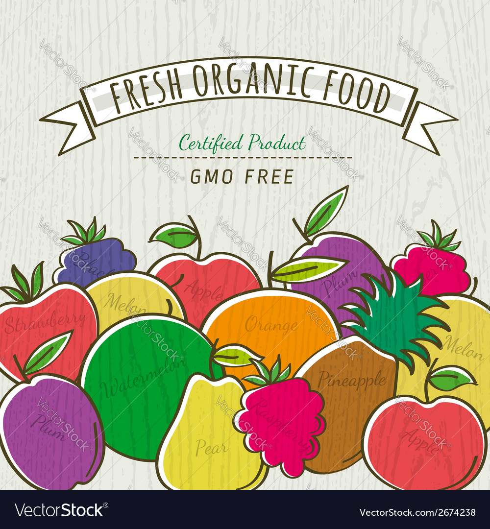 Set of organic fruits vector | Price: 1 Credit (USD $1)