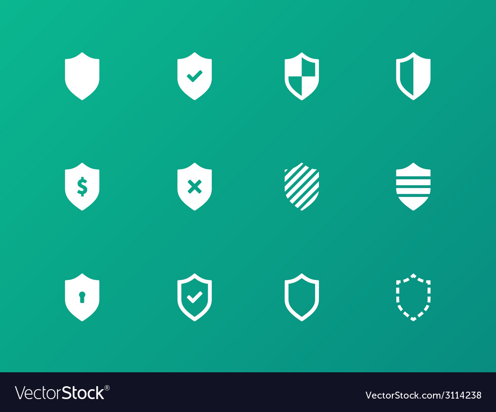 Shield icons on green background vector | Price: 1 Credit (USD $1)