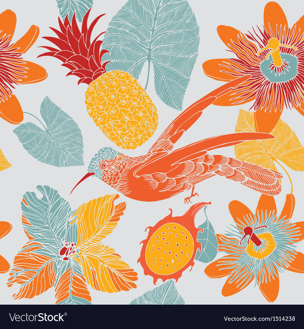 Tropical floral pattern with humming birds vector | Price: 1 Credit (USD $1)