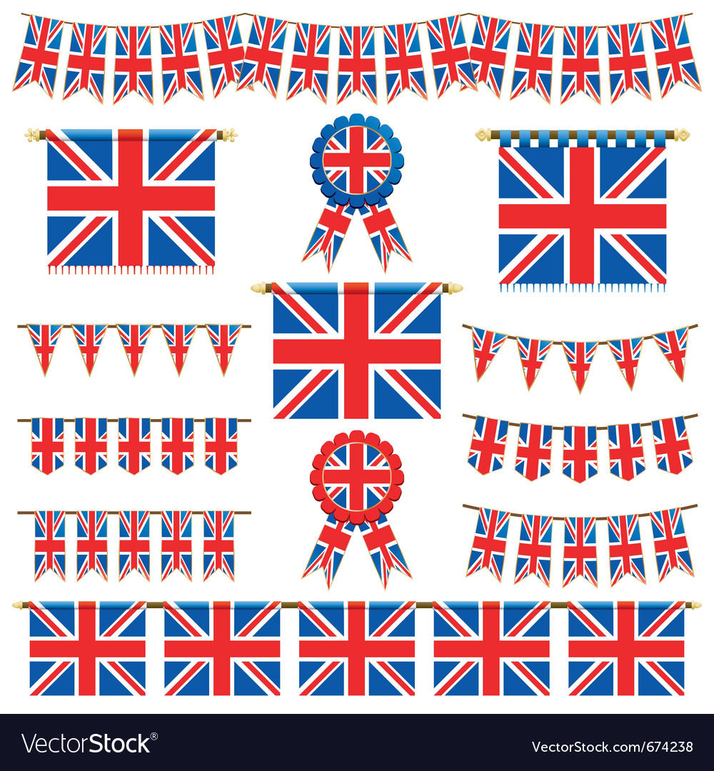 Union jack banners vector | Price: 1 Credit (USD $1)