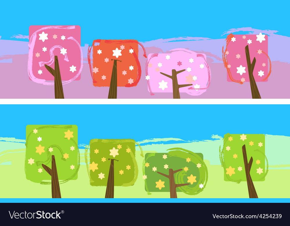 Abstract blooming trees vector | Price: 1 Credit (USD $1)