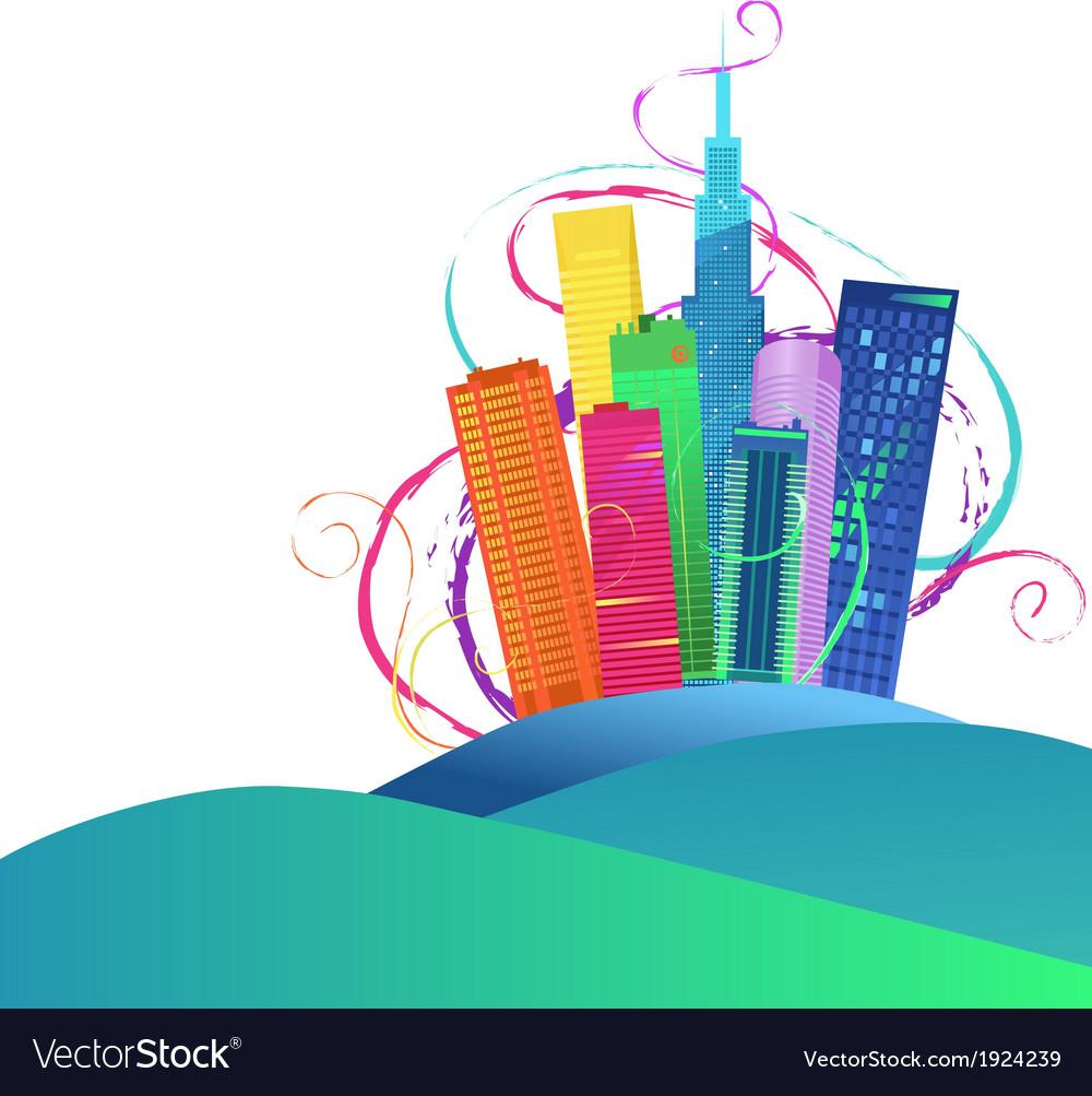 Colorful cityscape vector | Price: 1 Credit (USD $1)