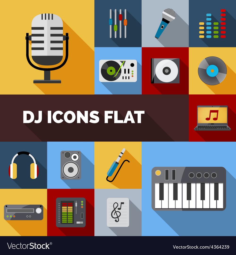 Dj icons flat set vector | Price: 1 Credit (USD $1)