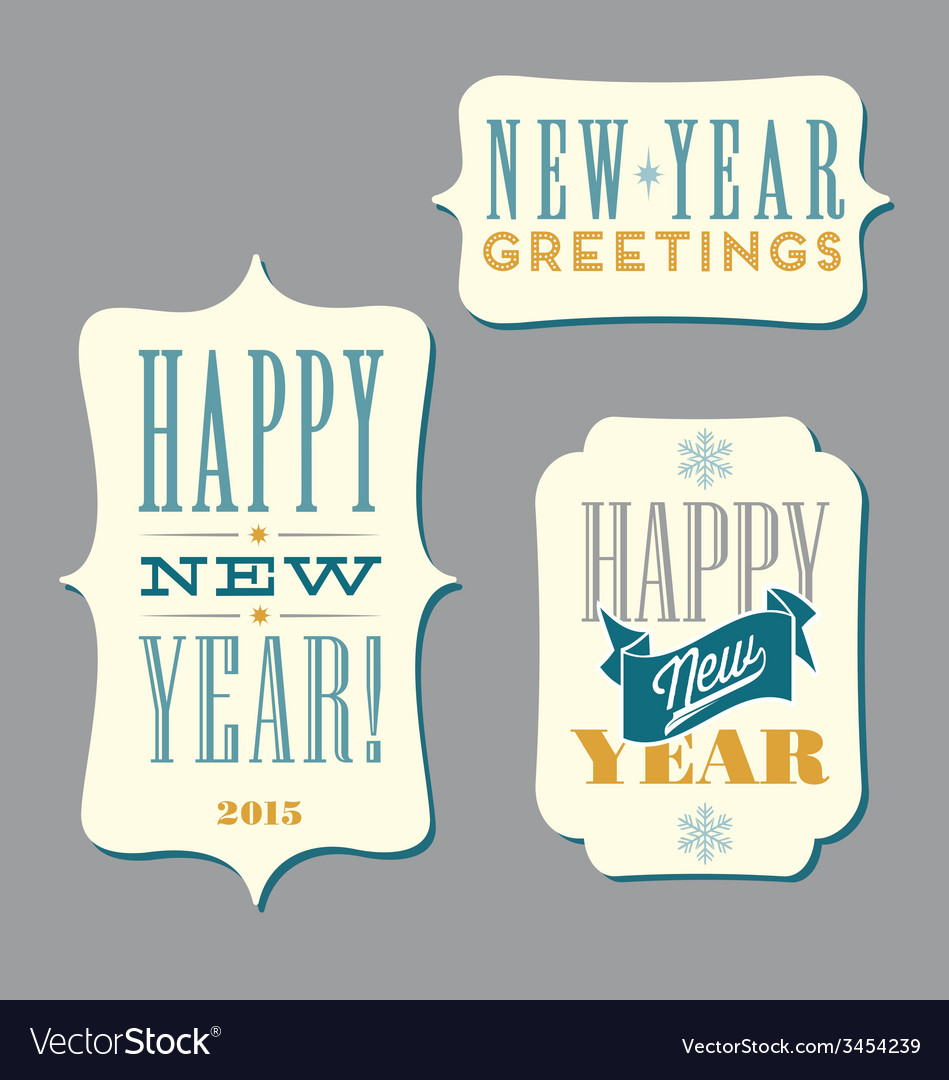 Happy new year typography designs vector | Price: 1 Credit (USD $1)