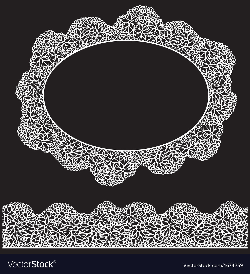 Lace oval frame and seamless stripe - vintage whit vector | Price: 1 Credit (USD $1)