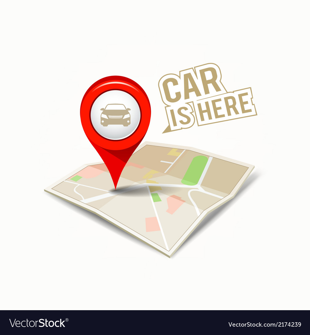 Map red pointer with my car design vector | Price: 1 Credit (USD $1)