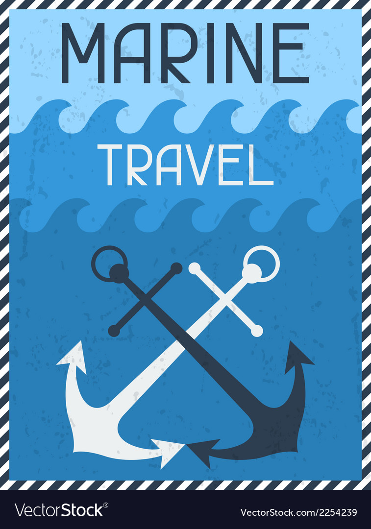 Marine travel nautical retro poster in flat design vector | Price: 1 Credit (USD $1)