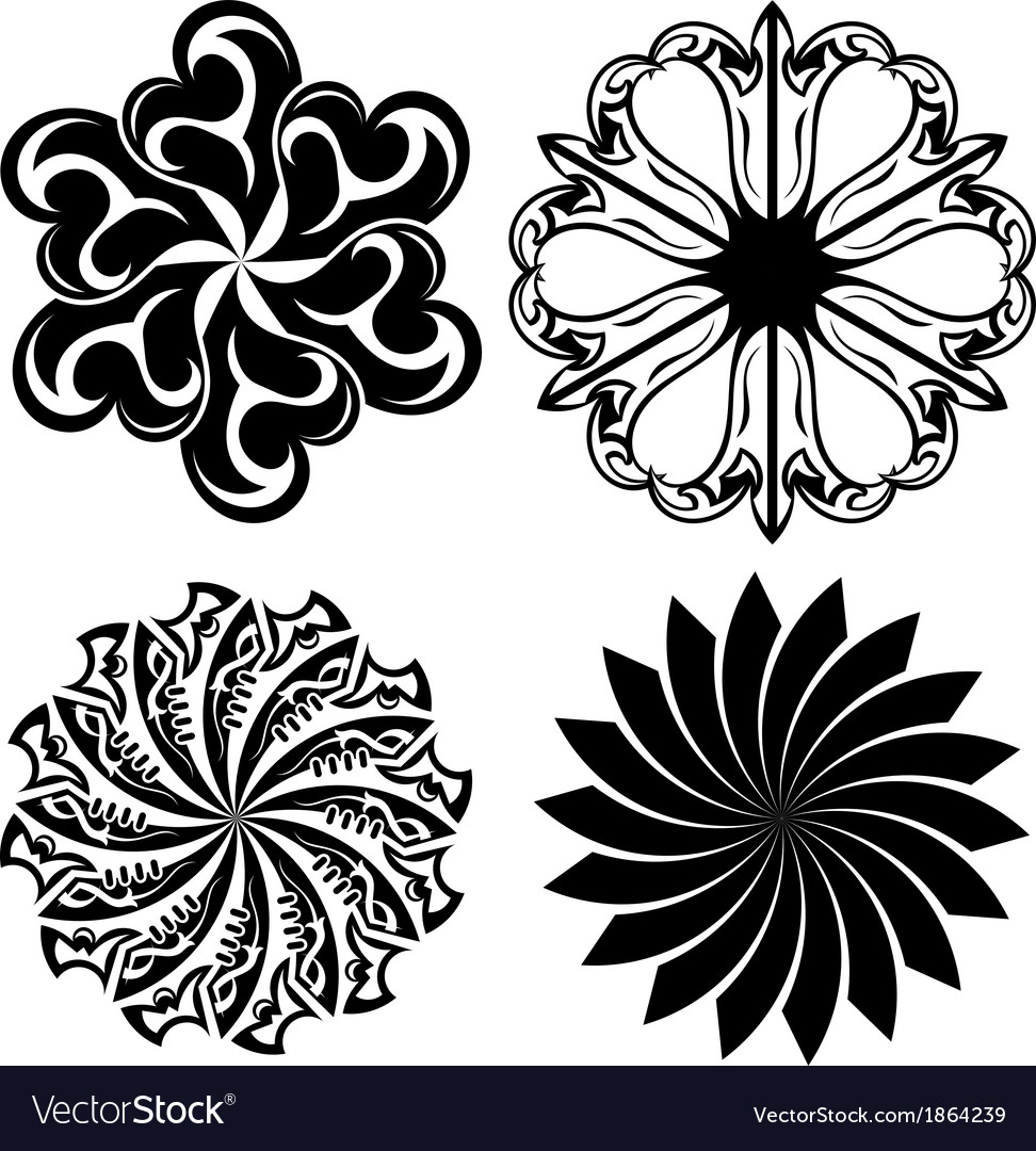 Set of round tattoo elements vector | Price: 1 Credit (USD $1)