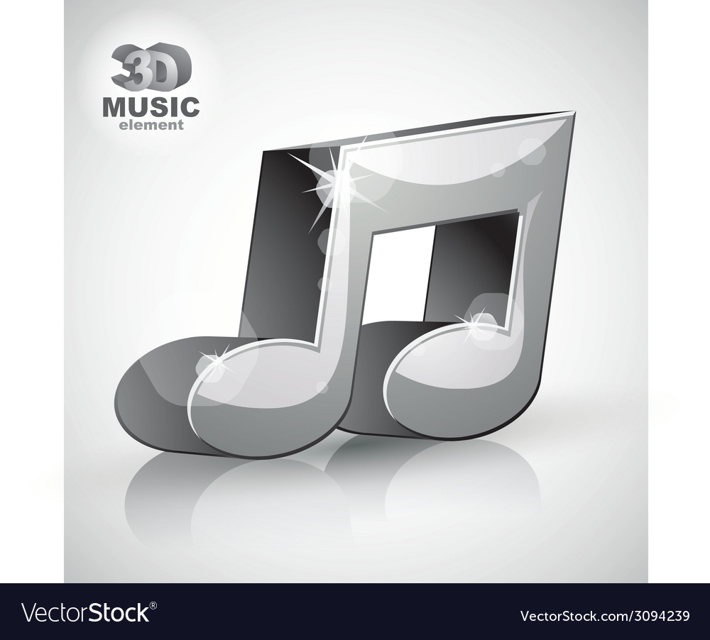 Trendy metallic musical note 3d modern style icon vector | Price: 1 Credit (USD $1)
