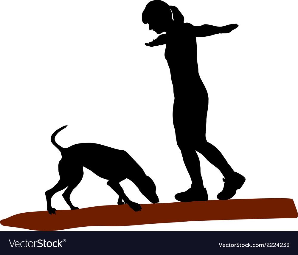 Woman and dog on log vector | Price: 1 Credit (USD $1)