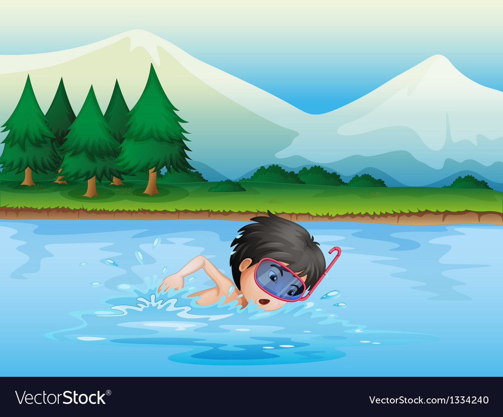 A river with a kid swimming vector | Price: 1 Credit (USD $1)