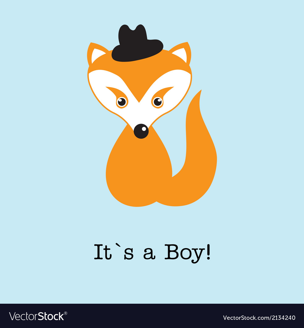Baby boy fox arrival announcement birth card vector | Price: 1 Credit (USD $1)