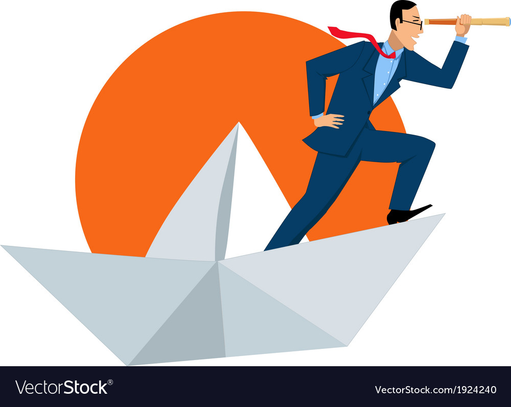 Businessman with a telescope on a paper boat vector | Price: 1 Credit (USD $1)