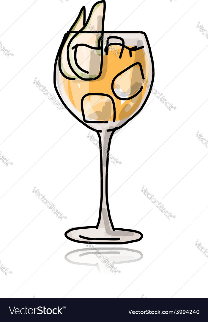 Cocktail with pear sketch for your design vector | Price: 1 Credit (USD $1)
