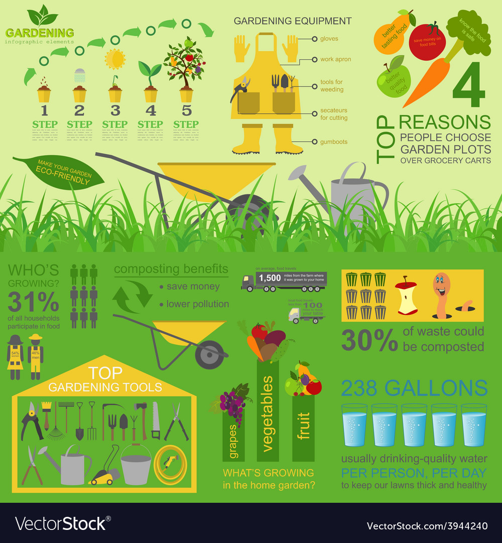 Garden work infographic elements working tools set vector | Price: 1 Credit (USD $1)