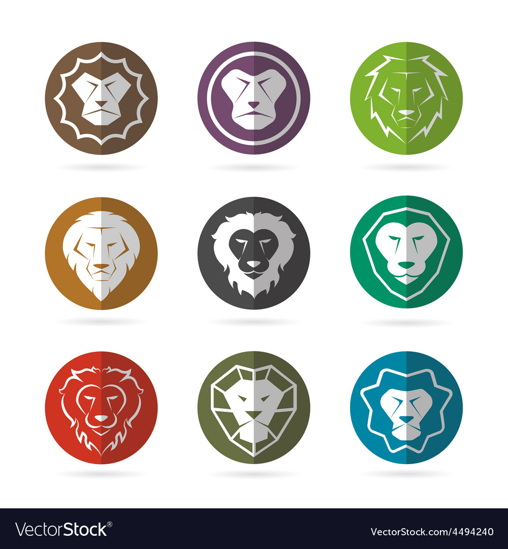 Group of lion face in the circle vector | Price: 1 Credit (USD $1)