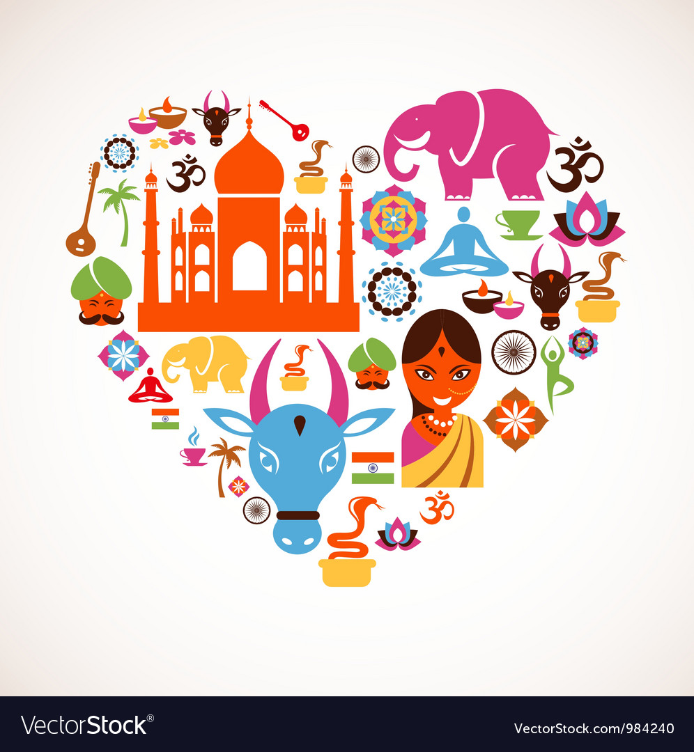 Heart with india icons vector