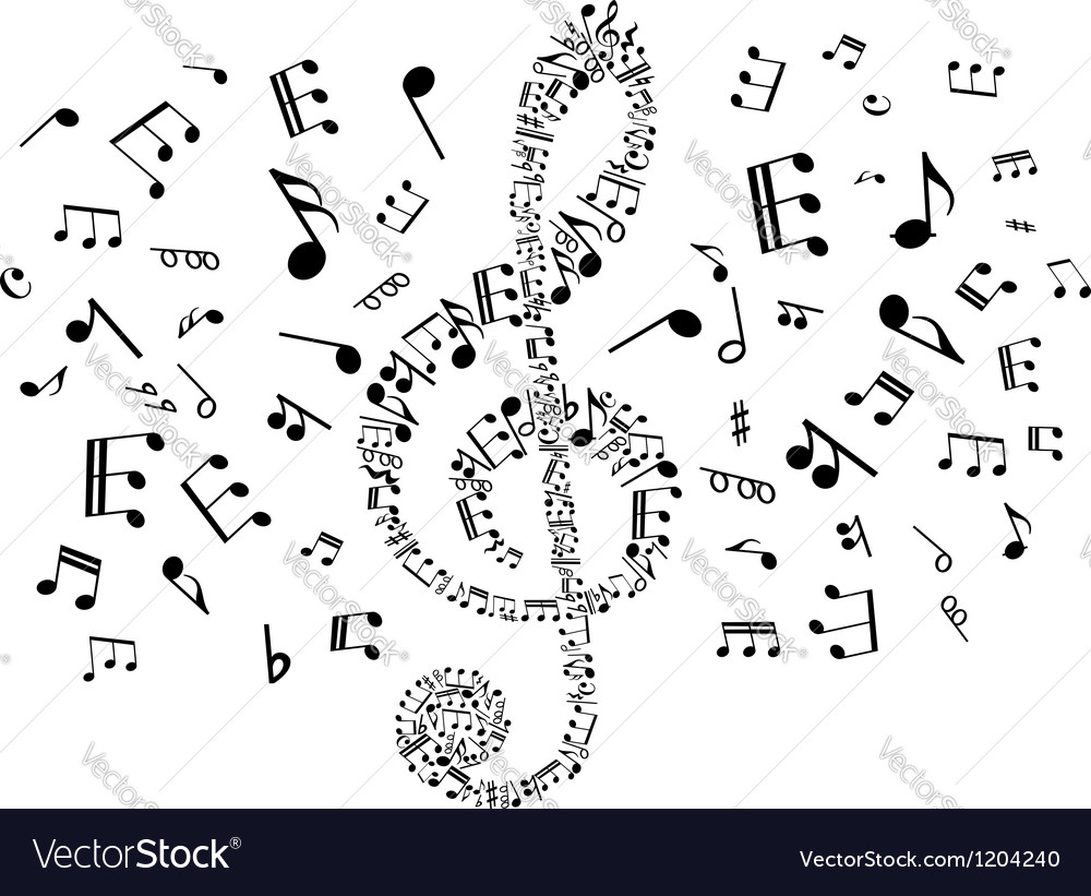 Musical clef with notes vector | Price: 1 Credit (USD $1)