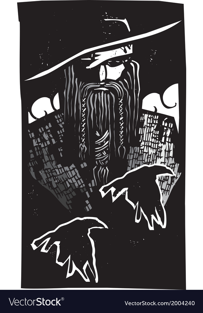 Norse god odin with 2 ravens vector | Price: 1 Credit (USD $1)