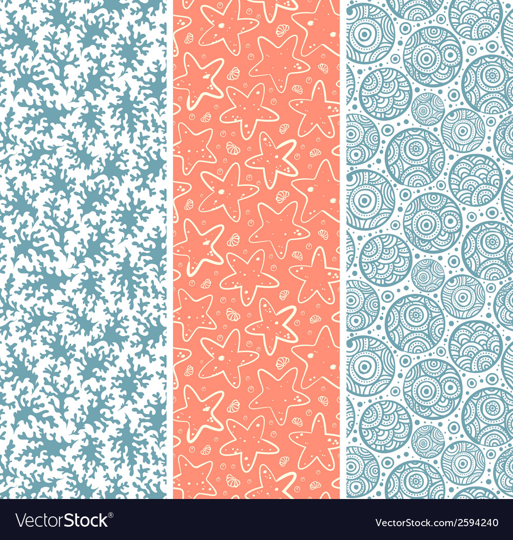 Set of coral and sea star seamless vector | Price: 1 Credit (USD $1)